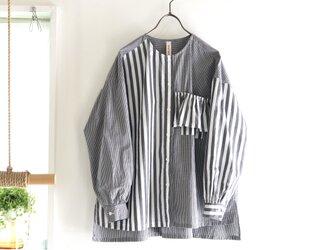 organic cotton frill pocket blouse (pattern mix)の画像