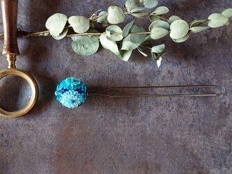 つまみ細工 簪 髪飾り (玉簪 青)の画像