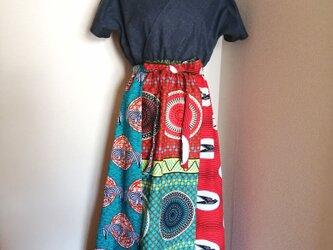 カシュクール マキシワンピース/アフリカ布×デニム生地の画像