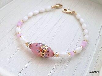 ベネチアンビーズの羽織紐(ピンク/オーバル)の画像