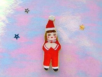 サンタに扮したひとブローチの画像