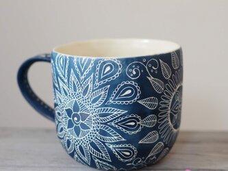 青いマグカップ(大1)の画像