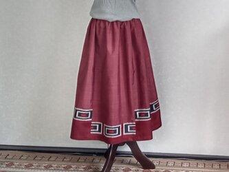 着物リメイク♪ワイン色・泥大島紬と銘仙の2枚からのスカート:丈78cm(裏地付き)の画像