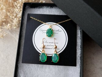 【14kgf】宝石質グリーンオニキスのピアス&ネックレスセット(オーバルファセットカット)の画像