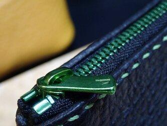 ダイアゴナル ペンポーチ S (BK×BK GRファスナー) ポーチ ペンケース レザーポーチ 手縫い YKK 牛革 エクセラの画像