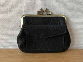 【送料無料】ぱかっと開くとお部屋が3つの親子がまぐち♪外ポッケが付いたうさぎ口金の四角い本革ミニ財布(黒レザー)の画像
