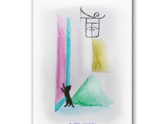 「ねえねえねえってばー、ここ、開けてっ!」 猫 ほっこり癒しのイラストポストカード2枚組No.1346の画像