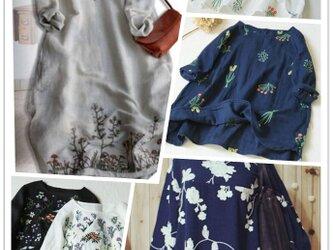 【春の福袋】ゆったり刺繍トップス+亜麻製刺繍ワンピース 2点セットの福袋の画像