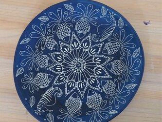 青いお皿(中皿1枚と大皿3枚のセット)の画像