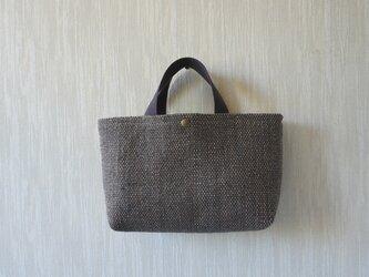 裂き織りのバッグ Mサイズ横長 グレーの画像