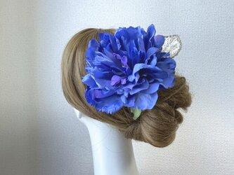 青いピオニーとゴールドリーフのヘッドドレス(ピオニー&ゴールドリーフ) ブルー 芍薬 髪飾り フローレス フラメンコ 青の画像