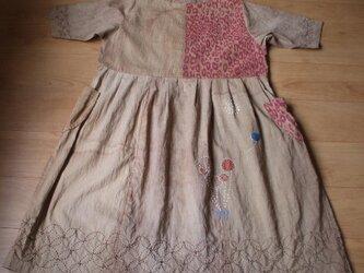 アンティーク着物の胴裏を染めたワンピース 木綿の画像