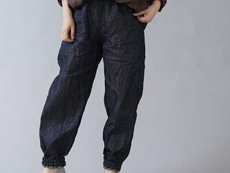 【wafu】岡山県産リネン100% デニム もんぺ 男女兼用/ダークインディゴ b005f-din3の画像