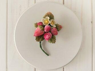染め花イチゴのコサージュ(L)の画像