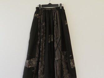 *アンティーク着物*泥大島紬のパッチスカート(9マルキ・5マルキ、裏地付き)の画像