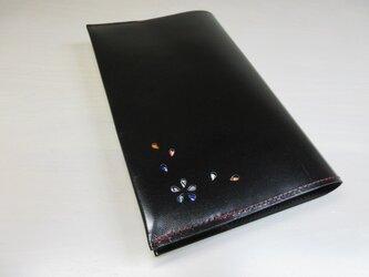 新書サイズ、コミック対応・「HANABIRA」シリーズ・ゴートスキン・ブラック・一枚革のブックカバー・0548の画像