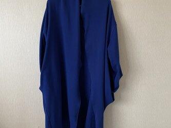 綿ミパイルパイルポケット遊びガウンコート青Fの画像