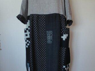 古布リメイク リネンと古布久留米絣のロールカラーワンピース 母の日プレゼント  オリジナル 着物リメイク ハンドメイドの画像