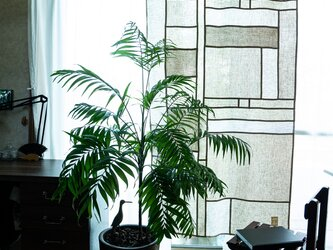 風をはらんで気持ちいい♪ ナチュラルリネンの間仕切りカーテン【96x185・リネンタペストリー・生成系・パッチワーク】の画像