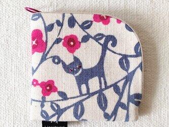 型染め 財布「花ねこ」の画像