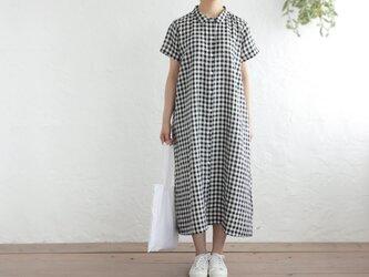 リネン 2way半袖シャツワンピース (ギンガムチェックブラック)の画像