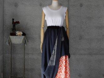 着物リメイク 兵児帯ロングスカート/絞りの裏地付き/フリーサイズ/ブルーグレー系の画像