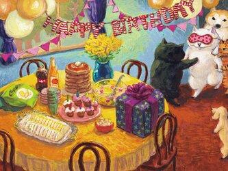 カマノレイコ オリジナル猫ポストカード「おめでとう」2枚セットの画像