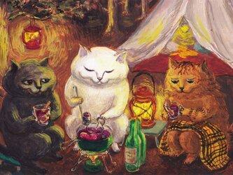 カマノレイコ オリジナル猫ポストカード「ホットワイン」2枚セットの画像