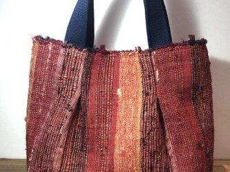 手織りトートバッグ 裂織り タックありの画像