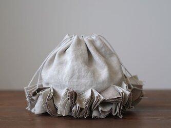 【wafu】リネン巾着 バイヤスポシェット 手提げ バッグ インテリアにも/亜麻ナチュラル z011c-amn2の画像