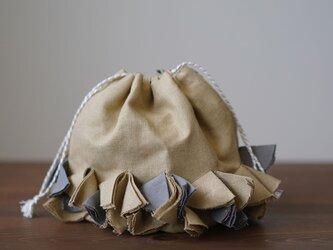 【wafu】リネン巾着 バイヤスポシェット 手提げ バッグ インテリアにも/木蘭色(もくらんじき) z011c-mrn2の画像