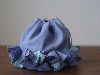 【wafu】リネン巾着 バイヤスポシェット 手提げ バッグ インテリアにも/菫色(すみれいろ) z011c-smr1の画像