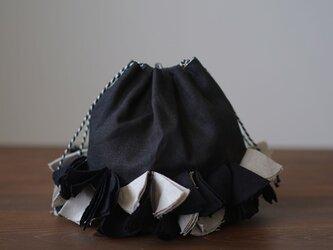 【wafu】リネン巾着 バイヤスポシェット 手提げ バッグ インテリアにも/黒色 z011c-bck2の画像