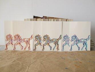 年賀状2014 Line Horse 3色6枚セットの画像