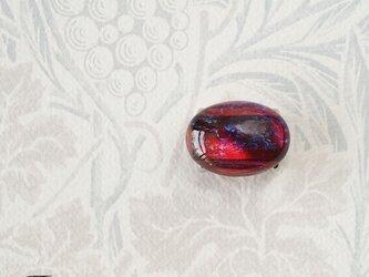 ヴィンテージチェコ製ガラス《ドラゴンブレス》の帯留◎レッド【送料無料】の画像