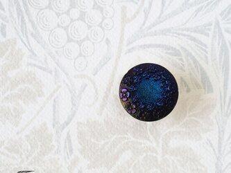 チェコ製ガラスボタンの帯留◎フラワー/オーロラブルー【送料無料】の画像