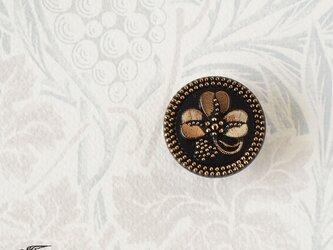 チェコ製ガラスボタンの帯留◎クローバー/ブラック【送料無料】の画像