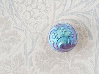 チェコ製ガラスボタンの帯留◎マットブルー【送料無料】の画像