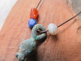 アンティーク 緒 ルリスタン青銅 + 古代玉 3玉 ネックレス 千世 chitoseの画像