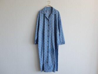 木間服装製作 / longshirt flower lightblue / unisex 1size / ロングシャツの画像