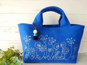 国産帆布のトートバッグ *ローズガーデン*ロイヤルブルー* の画像