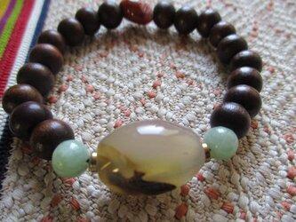 古い瑪瑙、ミャンマー翡翠、南紅瑪瑙、アンティーク木珠のブレスレットの画像