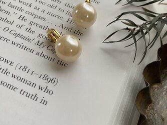 主役級!12mm Vintage pearls ソフトタッチ痛みなくしっかりとホールドのイヤリング!の画像