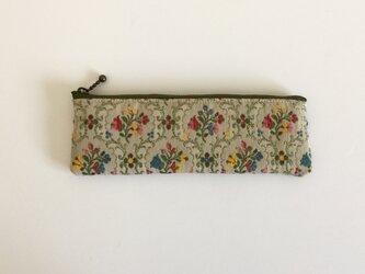 ゴブラン織り 花柄 ペンケース  フラット ジャガードの画像