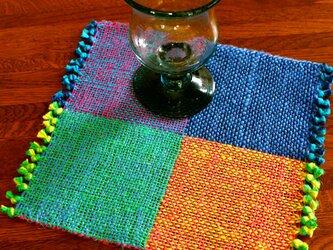 手織り 二重織によるカラーリネンのミニマット(№2)の画像