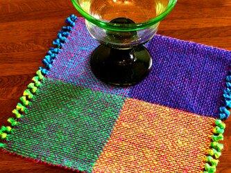 手織り 二重織によるカラーリネンのミニマット(№3)の画像