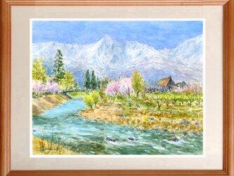 水彩画原画 北信濃の春 #460の画像
