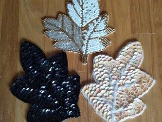 【ビーズの木の葉/3点セット】服飾材料 の画像