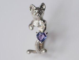 ハート型タンザナイト猫リングの画像