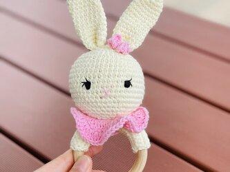おもちゃ うさぎ ガラガラ ラトル 0歳 男の子 女の子 編みぐるみ 出産祝い あかちゃん ギフト プレゼントの画像